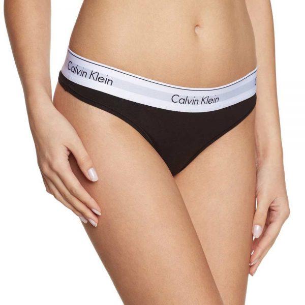 Calvin Klein NohavičkyTangá Modern Cotton F3786E čierne